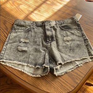 Acid wash distressed, checkered shorts